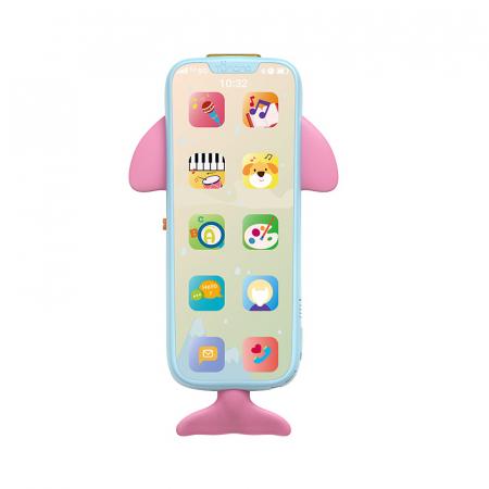 Telefon muzical  interactiv cu peste 100 de sunete educative pentru copii, Material Plastic/Silicon, Varsta +18 luni, Lumini si Sunete, Melodii, Tumama®, albastru/roz [2]