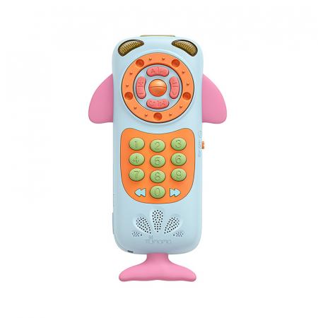 Telefon muzical  interactiv cu peste 100 de sunete educative pentru copii, Material Plastic/Silicon, Varsta +18 luni, Lumini si Sunete, Melodii, Tumama®, albastru/roz [1]
