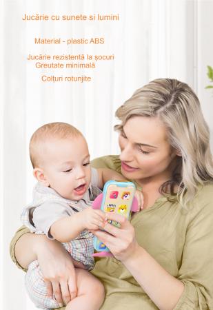 Telefon muzical  interactiv cu peste 100 de sunete educative pentru copii, Material Plastic/Silicon, Varsta +18 luni, Lumini si Sunete, Melodii, Tumama®, albastru/roz [5]