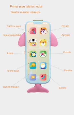 Telefon muzical  interactiv cu peste 100 de sunete educative pentru copii, Material Plastic/Silicon, Varsta +18 luni, Lumini si Sunete, Melodii, Tumama®, albastru/roz [4]