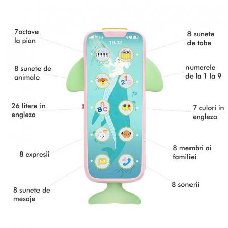 Telefon muzical Tumama® interactiv cu peste 100 de sunete educative pentru copii, roz [3]