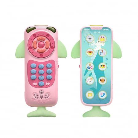 Telefon muzical Tumama® interactiv cu peste 100 de sunete educative pentru copii, roz0