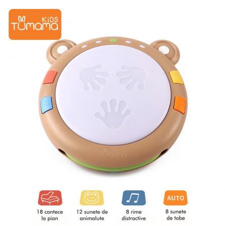 Toba muzicala cu luminite Tumama® Teddy Bear, peste 45 de sunete educationale, pentru copii si bebelusi3