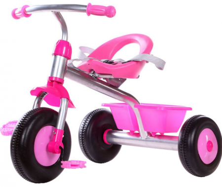 Tricicleta cadru metalic, cos depozitare si scaun reglabil cu centura, SMARTIC®, roz0
