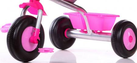 Tricicleta cadru metalic, cos depozitare si scaun reglabil cu centura, SMARTIC®, roz2