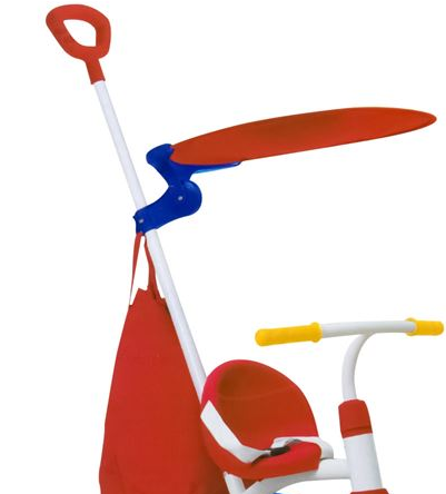 Tricicleta copii cadru metalic, maner detasabil, centura de siguranta, cos depozitare, parasolar, SMARTIC®, rosu/albastru [2]