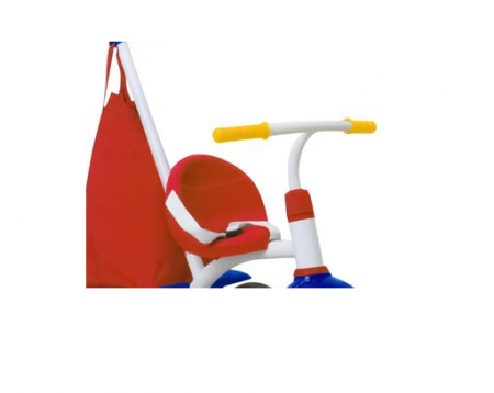 Tricicleta copii cadru metalic, maner detasabil, centura de siguranta, cos depozitare, parasolar, SMARTIC®, rosu/albastru [4]
