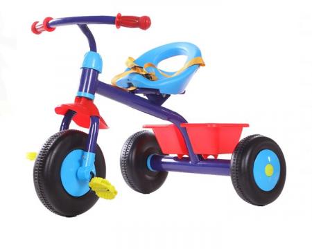 Tricicleta pentru copii, cadru metalic, cos depozitare si scaun reglabil cu centura, SMARTIC®, albastru0