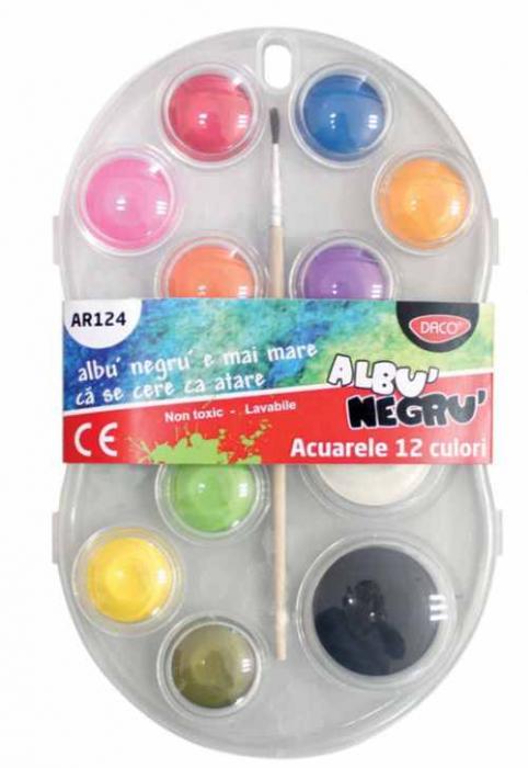 Acuarele 12 culori Albu Negru Daco [0]