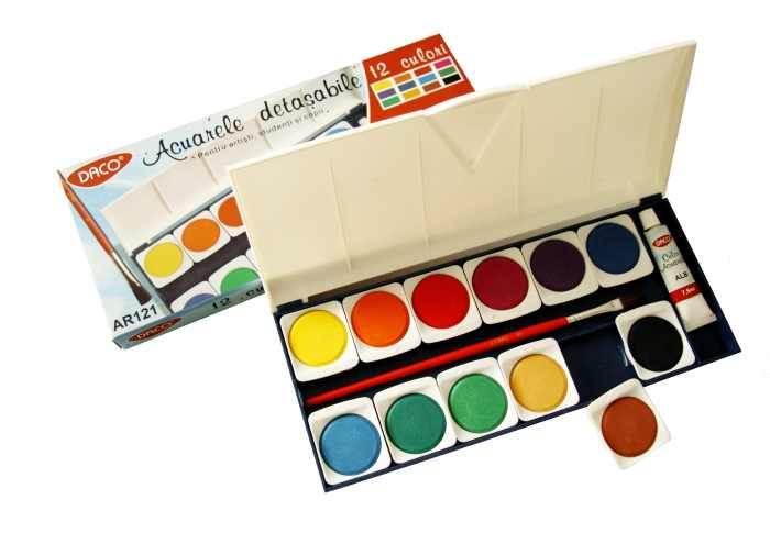 Acuarele 12 culori pastile detașabile Daco [0]
