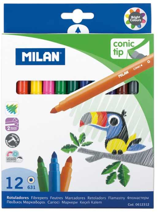 Carioca 12 culori vârf conic Milan [0]