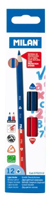 Creion bicolor roşu/albastru Milan 1