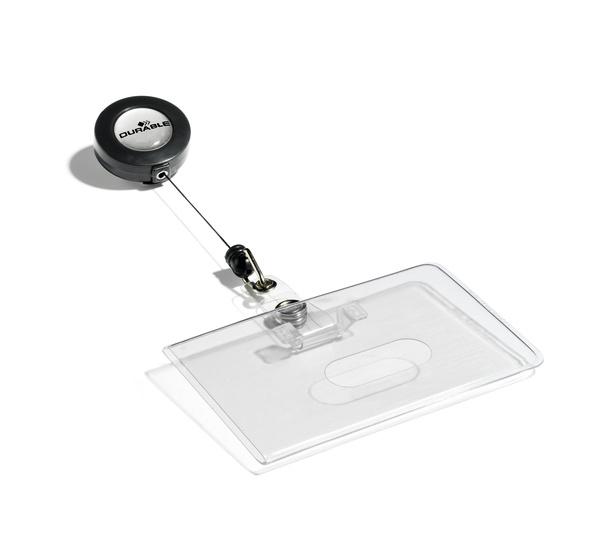 Ecuson orizontal transparent cu snur retractabil, set 10 buc [0]