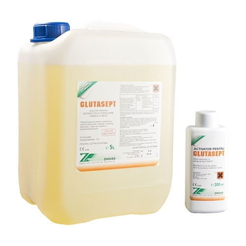 GLUTASEPT 5L, sterilizant la rece pe baza de glutaraldehida 2%, gata preparat + activator de culoare 200ml 0