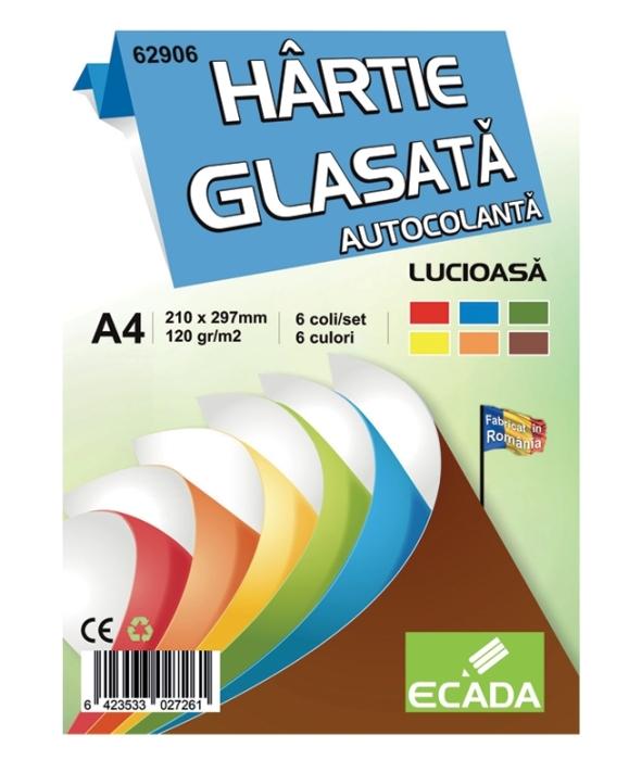 Hartie glasata lucioasa autocolanta A4 Ecada, 6 coli, 6 culori,  [0]