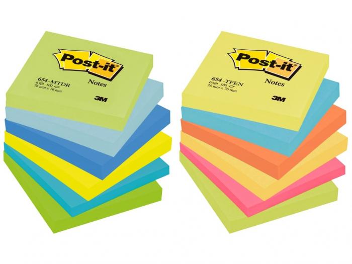 Notes adeziv neon 75x75mm color 100f 3M 0