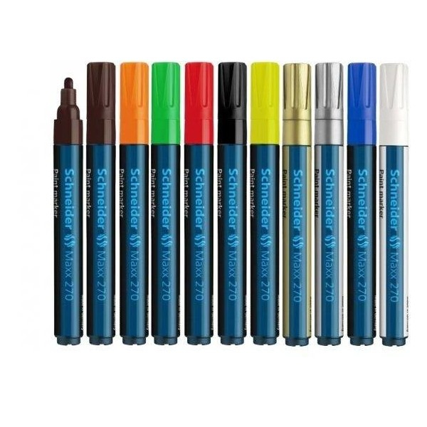 Paint marker Schneider 270 - varf 1-3mm - auriu argintiu si diverse culori 1