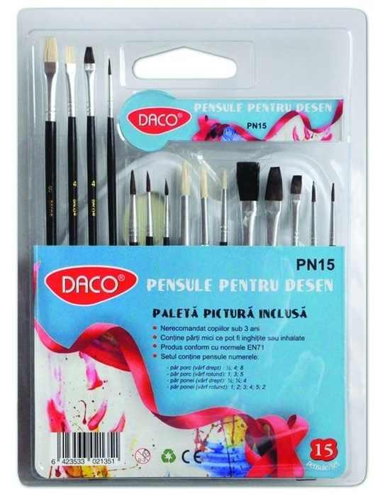 Pensule set 15 - paletă acuarelă inclusă Daco 0