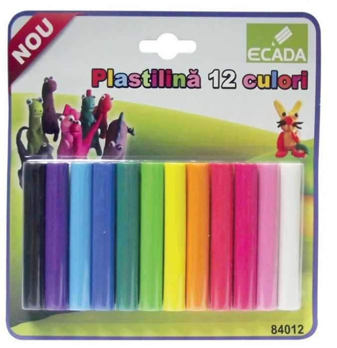 Plastilină 12 culori Ecada, 180 gr 0