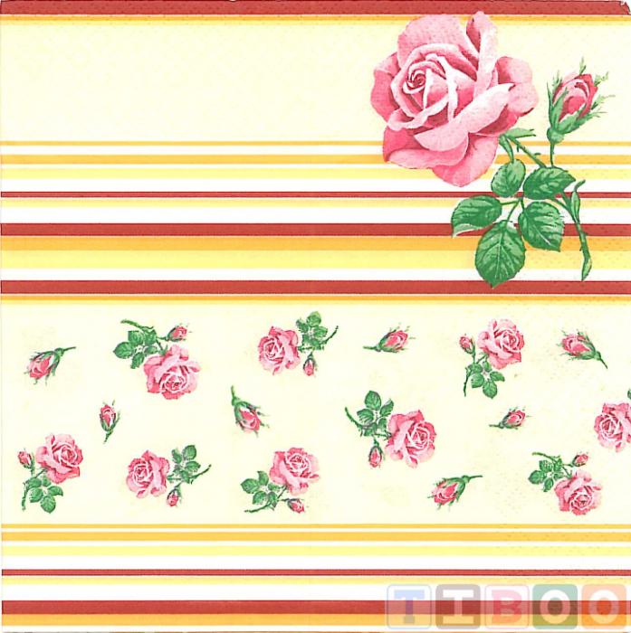 Servetel decorativ- trandafir pe fundal  portocaliu-33x33 [0]