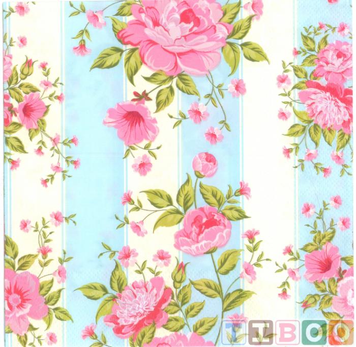 Servetel decorativ-trandafiri pe fundal cu dungi -33x33 [0]