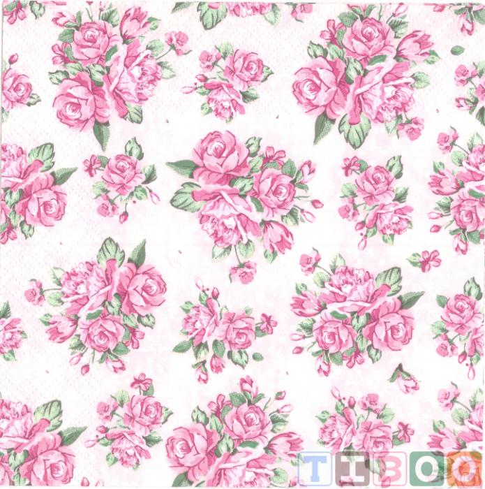 Servetel decorativ-trandafiri pe fundal roz -33x33 [0]