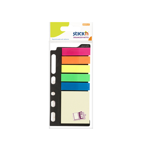 Set notes autoadeziv 51x51mm+ index autoadeziv din plastic 45x12mm- 6 culori asortate-25file/buc 0