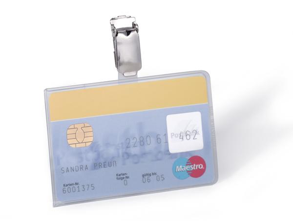 Suport card securitate orizontal cu clip standard, 25 buc 0