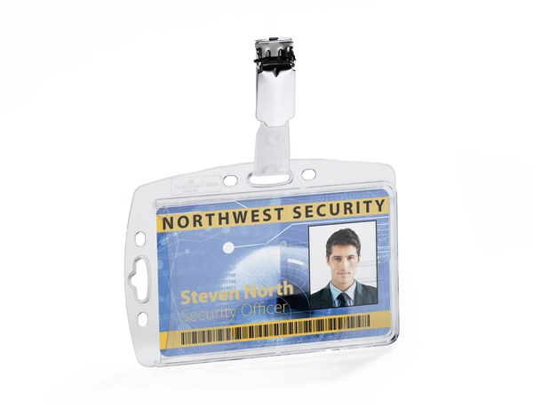 Suport card securitate orizontal + vertical cu clip standard, set 25 buc [0]