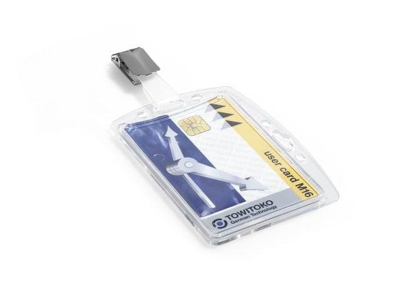 Suport card securitate orizontal + vertical cu clip standard, set 25 buc [3]