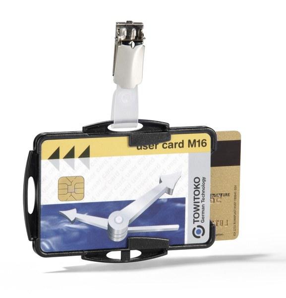 Suport dublu card securitate orizontal cu clip standard [0]