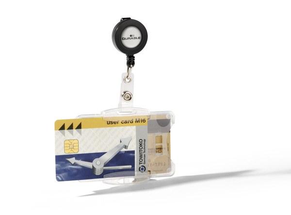 Suport dublu card securitate orizontal cu snur retractabil 0
