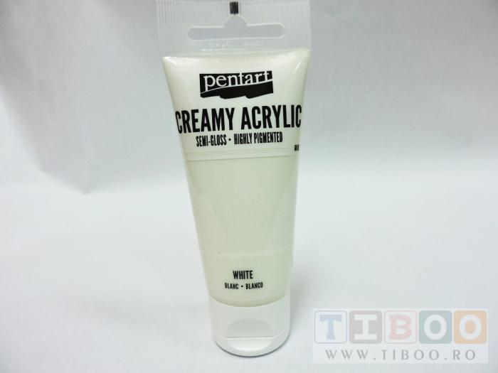 Vopsea acrilica cremoasa 60 ml- alb 0