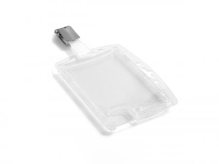 Suport dublu card securitate orizontal cu clip standard, set 25 buc [3]