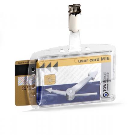 Suport dublu card securitate orizontal cu clip standard, set 25 buc [0]