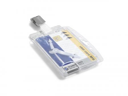 Suport dublu card securitate orizontal cu clip standard, set 25 buc [2]