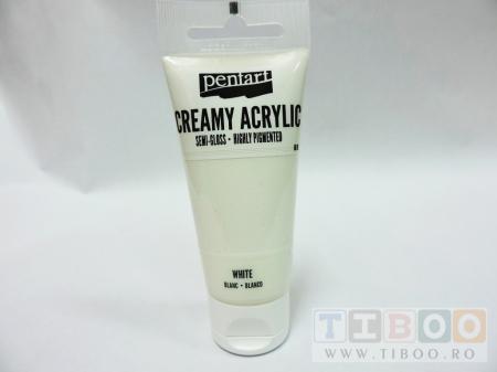 Vopsea acrilica cremoasa 60 ml- alb0