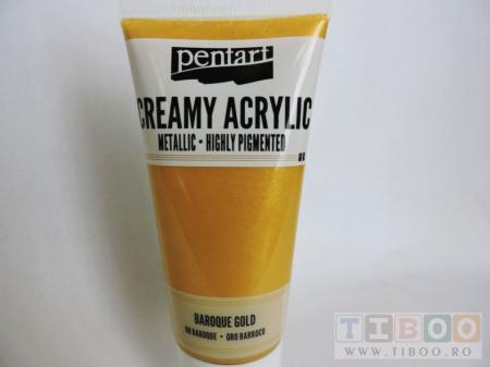 Vopsea acrilica metalizata, cremoasa 60 ml- aur baroc [0]