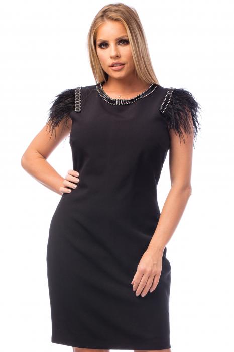Rochie neagră cu strasuri și pene 2