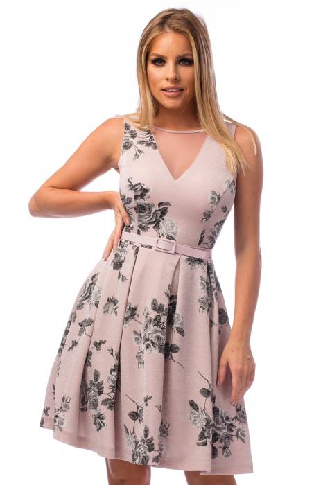 Rochie elegantă cu decolteu în V și flori negre 2