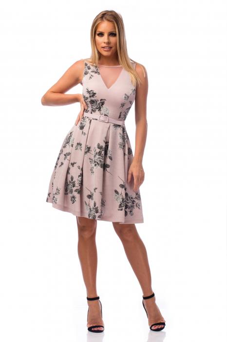 Rochie elegantă cu decolteu în V și flori negre 0