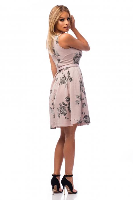 Rochie elegantă cu decolteu în V și flori negre 3