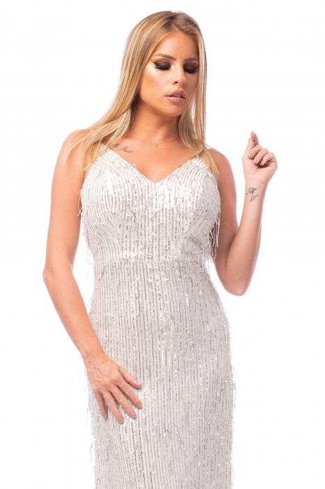 Rochie elegantă cu franjuri aplicați și spatele gol 1