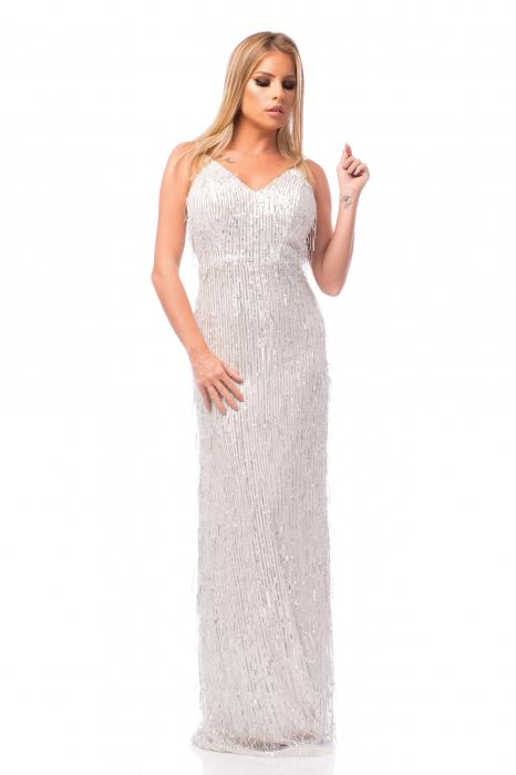 Rochie elegantă cu franjuri aplicați și spatele gol 0