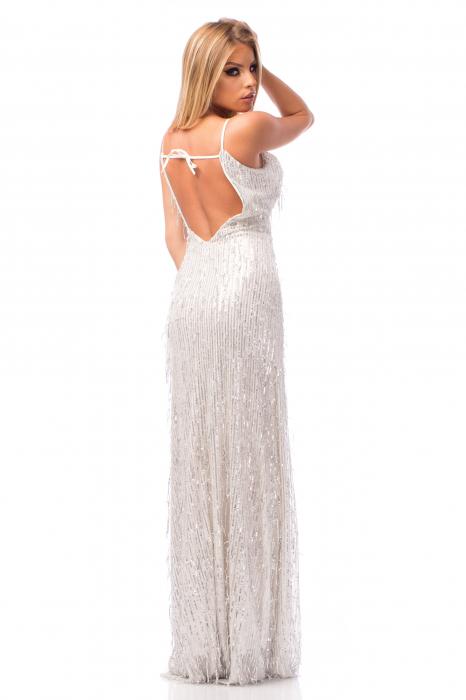 Rochie elegantă cu franjuri aplicați și spatele gol 2