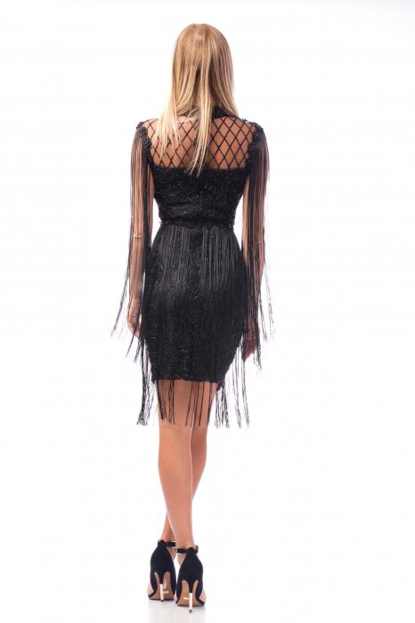 Rochie de ocazie neagră cu decolteu plasă și bandă tip chocker 3