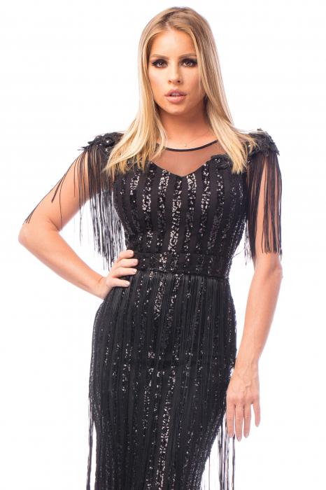 Rochie elegantă cu franjuri și aplicații strălucitoare 1