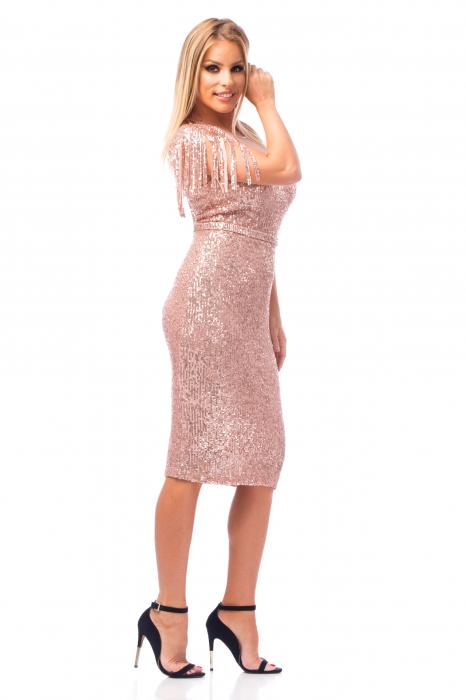 Rochie elegantă tip creion cu franjuri și inserții strălucitoare 2