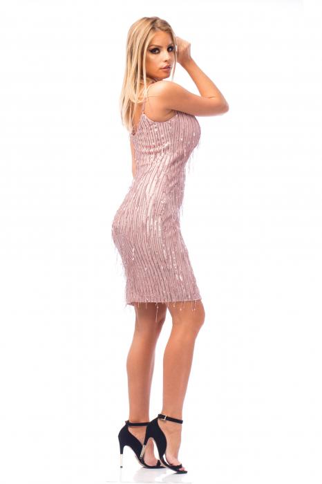Rochie elegantă scurtă cu barete subțiri 3