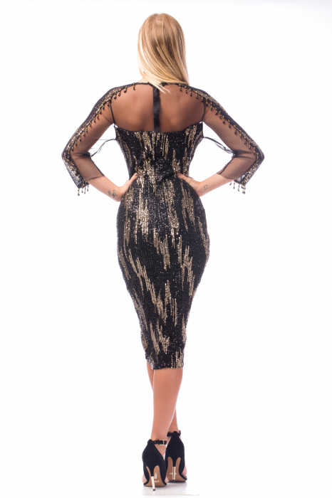 Rochie de ocazie neagră cu mâneci transparente 3